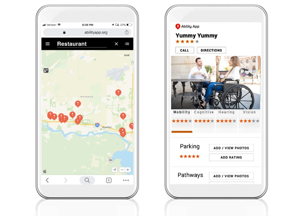 Two images of Ability App on a mobile device. The first image, located on the left side of the screen, is of the Ability App map that pinpoints a location or business that user is searching for. The second image, that is located on the right side of the screen, displays Ability App and the accessibility rating of the business.  Users can add and view photos, comments and ratings.